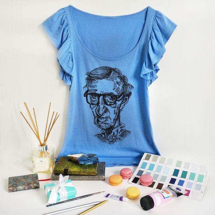 """Дизайнерские женские футболки """"Woody Allen"""". размеры S. Тончайший летний хлопок. !!!! ЦЕНА 490 руб !!!!!"""