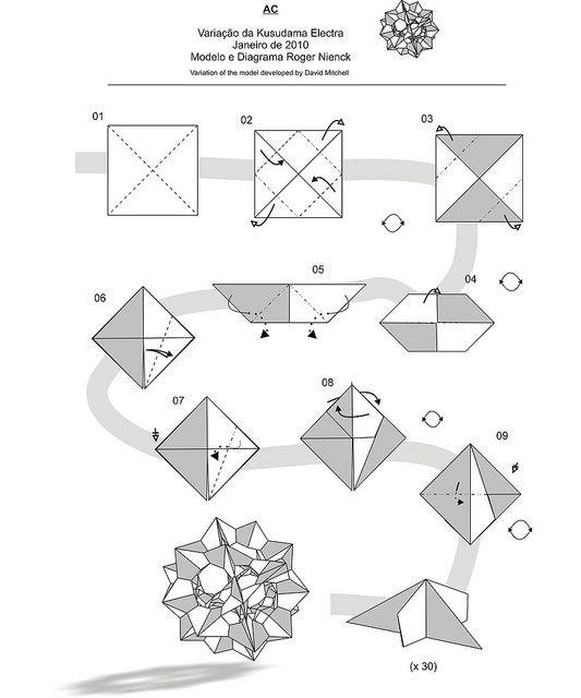 174 best origami  modular  kusudama images on pinterest origami rose diagrams Origami Tsuru Rose