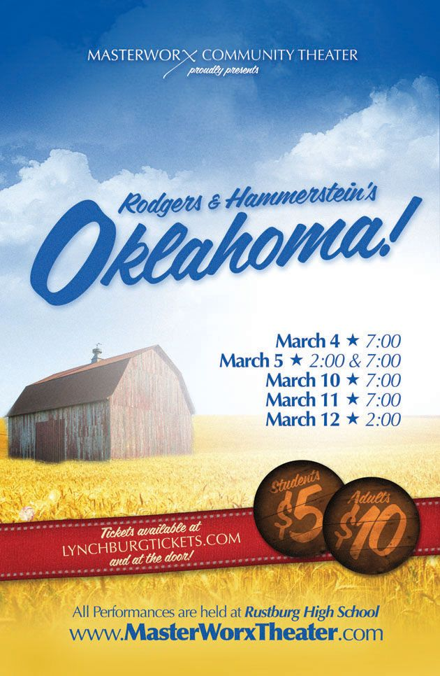 MasterWorx Community Theatre is proudly presenting Rodgers and Hammerstein's Oklahoma! The production is being held at Rustburg High School March 4, 5, 10, 11, and 12. Tickets are available at http://www.lynchburgtickets.com/oklahoma, and will also be sold at the door.