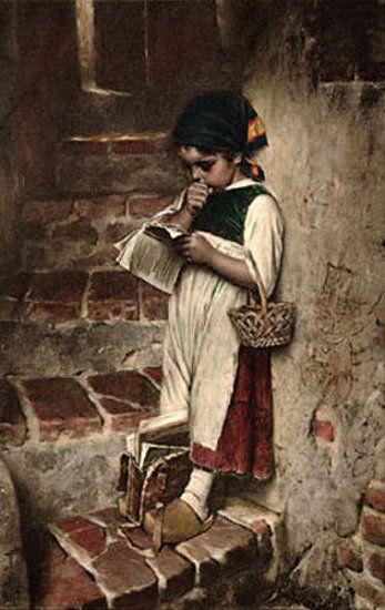 """Before School"" ~ By Artist Hermann Kaulbach (1846 – 1909,German)"