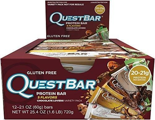 Quest Nutrition Protein Bar Chocolate Lovers Variety Pack 5 Flavors 20-21g Protein 4-6g Net Carbs 170-190 Cals Low Carb Gluten Free Soy Free 2.12oz Bar 12 Count