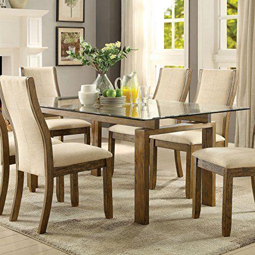 Furniture Of America Lenea Contemporary Glass Top Oak Dining Table