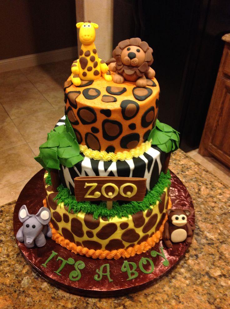 Zoo themed baby shower cake amanda baby shower pinterest for Animal cake decoration ideas
