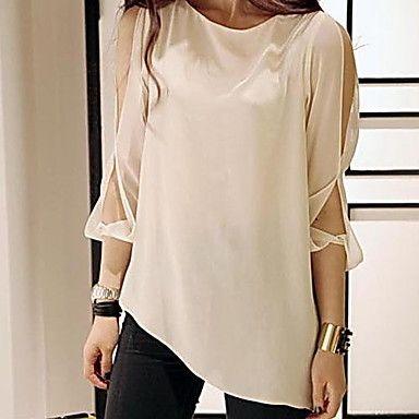 Gasa fría hombro asimétrico del dobladillo de la blusa de las mujeres – EUR € 22.27