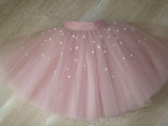 Preciosa falda de tul rosa