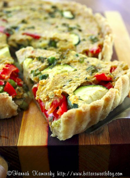 Chickpea Veggie Quiche: savory and satisfying (vegan, soy free). Make quiches ahead of time and refrigerate for an easy morning. #quick #breakfast #quiche