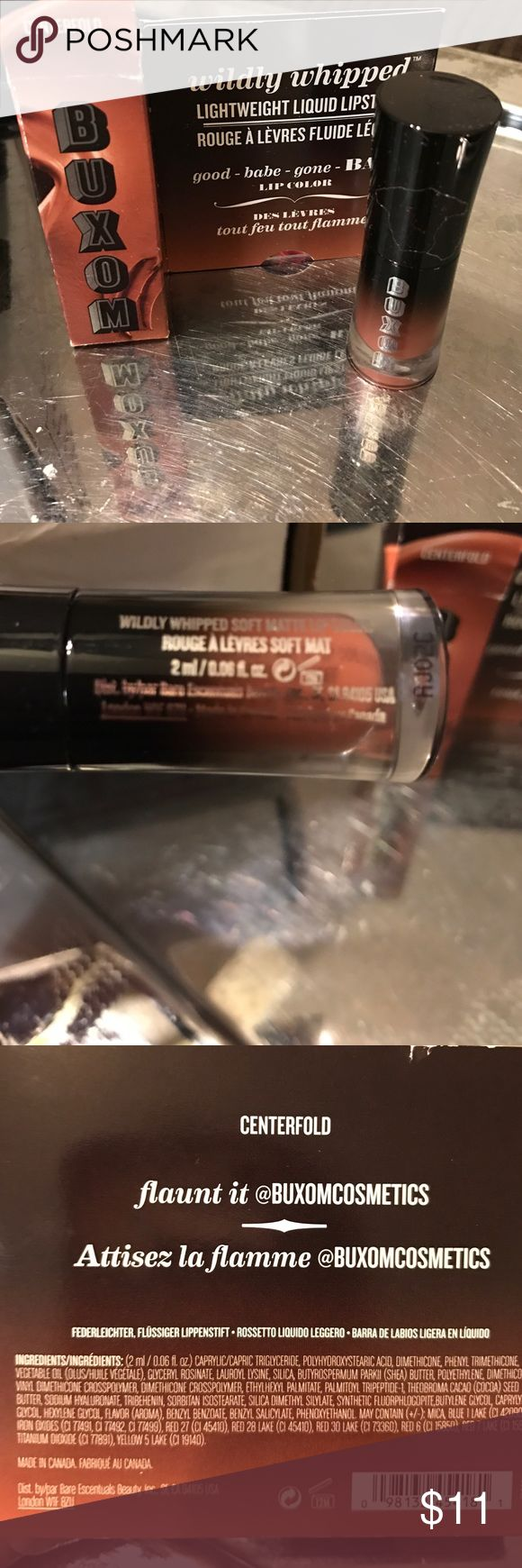 """Buxom deluxe sample .08 oz """"centerfold"""" lipstick. BNWT, like all my beauty products. Instead of buying the full size, try it out first before investing in the full size. Great opportunity to discover how you like the color and brand at a great price. Makes a great item to add in a gift basket for make up lovers and perfect to keep in purse or toiletry bag for trips. Lightweight liquid lipstick. Add to a bundle (to make your gift basket) and get an even better price. BNWT in original box…"""