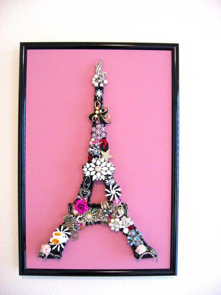 Ville de l'amour Eiffel Tower Mosaic Vintage Jewelry Art Sculpture Framed 17 x 12