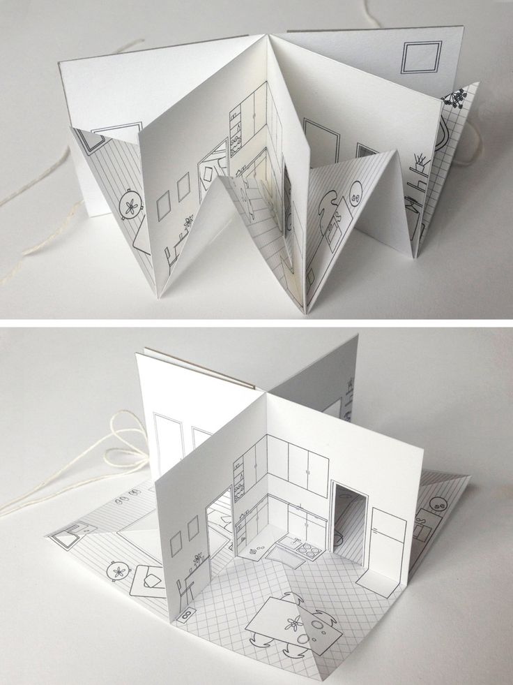»Paper House small illustrated pop-up book 3/16 scale by pipsawa« #paper #craft #popup More