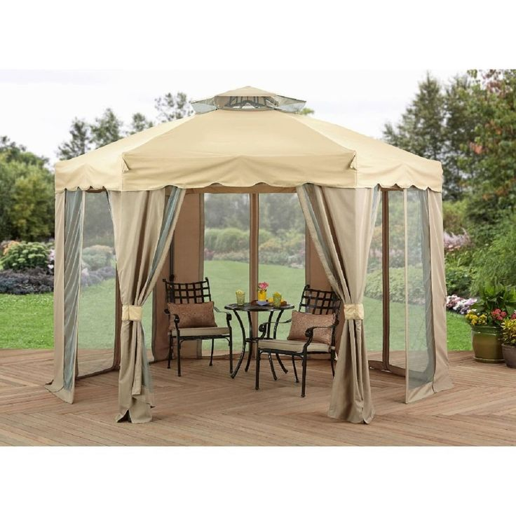 Outdoor Gazebo Canopy 12x12 Patio Tent Curtains Steel