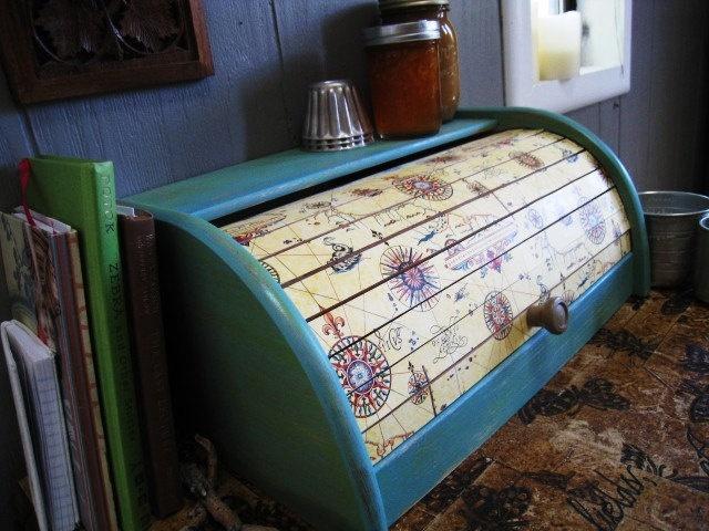 Italian Paper Roll Top Bread Box Kitchen Decor. $55.00, via Etsy.