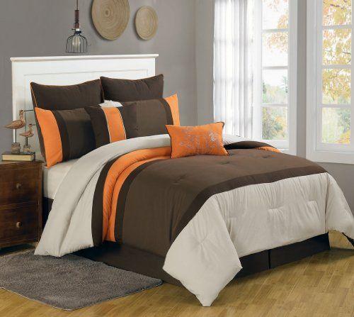 8 Piece Queen Bloomsbury Coffee And Orange Comforter Set