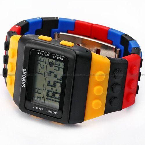NEW Shhors Rainbow Rubber LCD Digital Alarm MEN'S Ladies Black Case Sport Watch   eBay $9