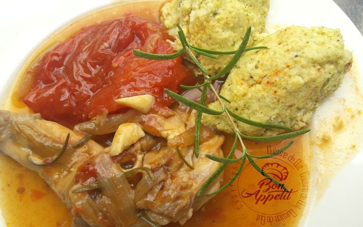 Lapin au romarin et polenta aux brocolis