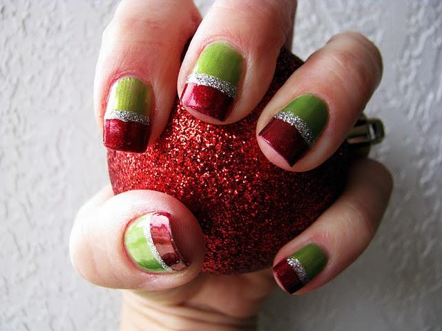 Grinch nails...similar to Santa nails