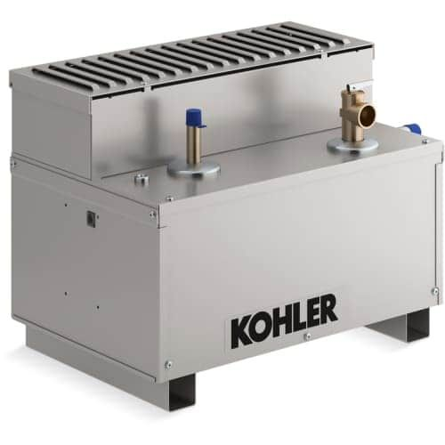 Kohler K-5533 Invigoration 13kW Residential Steam Generator with Fast-Response, Constant Steam and Power Clean, Silver stainless steel