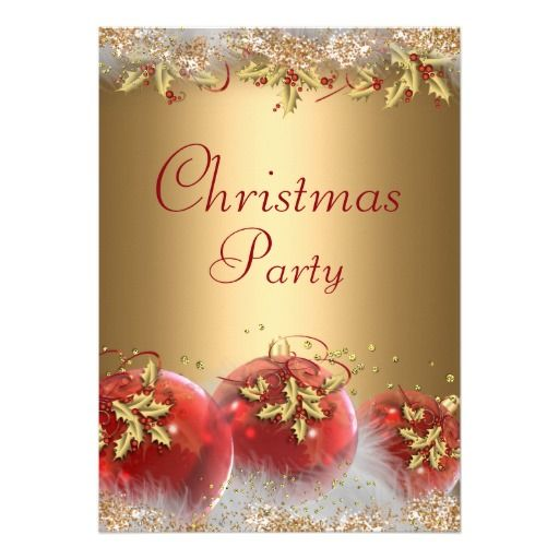 71 best christmas holiday party images on pinterest christmas holly baubles gold red christmas party invite stopboris Image collections