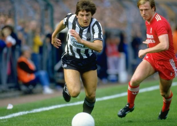 Peter Beardsley shows off the 'Beardsley shimmy' against Liverpool's Steve McMahon in 1986/87