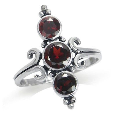 2.16ct. 3-Stone Natural Garnet 925 Sterling Silver Balinese Style Ring SZ 5