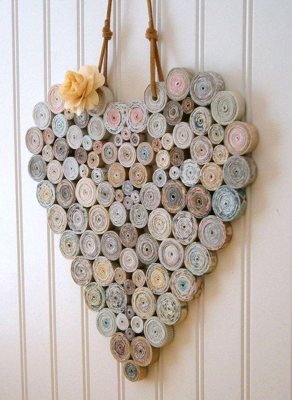 Reciclado de papel en espiral corazón 12 x 12 por BlueTangDesigns