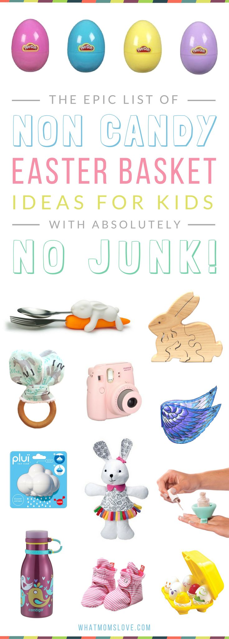Non Candy Easter Basket Gift Ideas for Kids | Unique and fun ideas for babies, toddlers, tweens and teens - no junk included! Boys and girls will love these creative ideas! For the full list head to whatmomslove.com