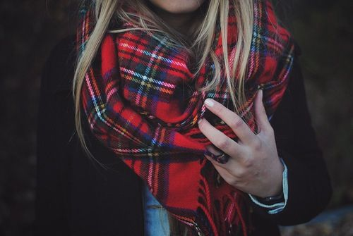plaid scarf. Nice alternative to plaid fleece button up.
