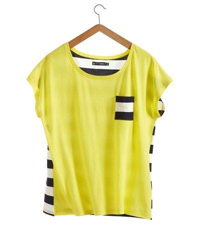 T-shirt manches courtes femme en jersey uni et rayé jaune Eblouis / bleu  Soir