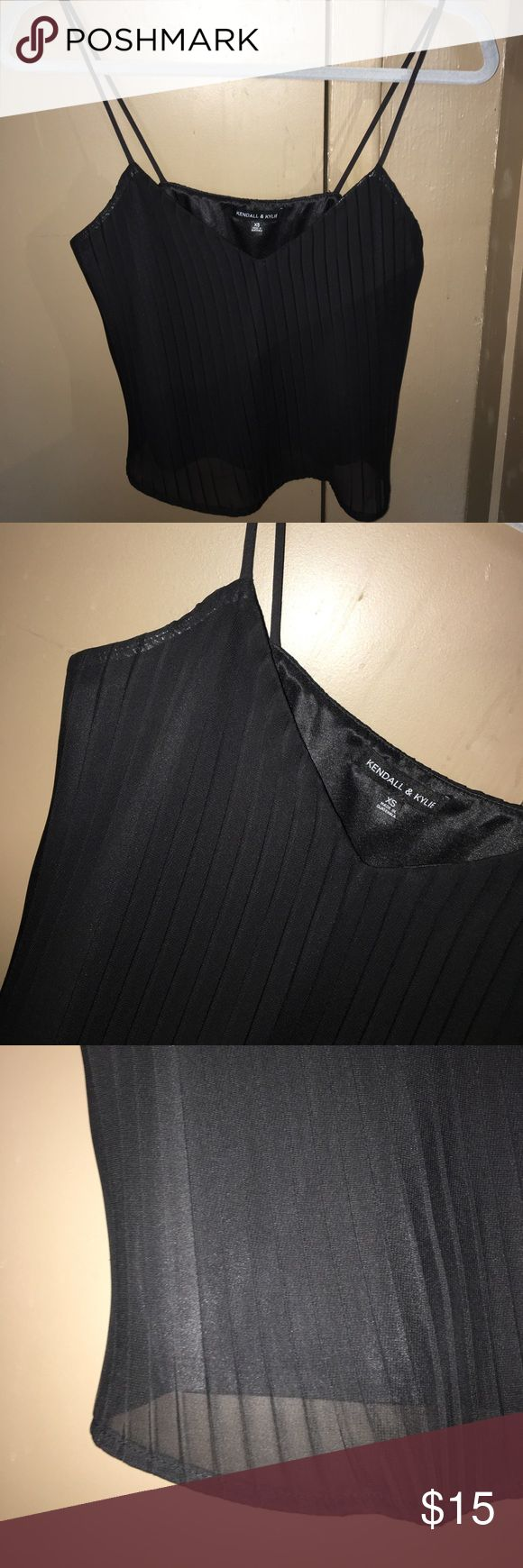 Kendal & Kylie creased spaghetti strap tank Kendal & Kylie a bit cropped, very formal. Warn only once, in perfect condition!! Low cut Kendall & Kylie Tops Tank Tops