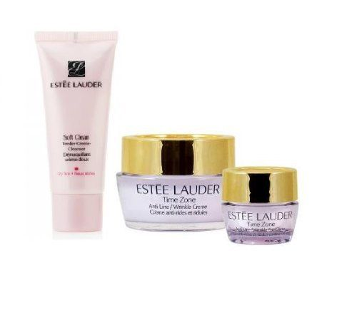 Estee Lauder Anti-Wrinkle set: Time Zone Anti-Line/Wrinkles Creme + eye Creme+Soft Clean Moisture Rich Foaming Cleanser (Dry Skin) for Lines Wrinkles Age Spots Facial Treatment Products by Estee Lauder. $26.99. 1. Time Zone Time Zone Line and Wrinkles Reducing Creme SPF 15 0.5 oz/15 ml. 2. Time Zone Anti-Line and Wrinkles Eye Creme 0.17 oz/15 ml. 3. Estee Lauder Soft Clean Tender Creme Cleanser 1 oz/ 30 ml. Estee Lauder 3-piece Anti-Wrinkle set. Estee Lauder Anti-Wrin...