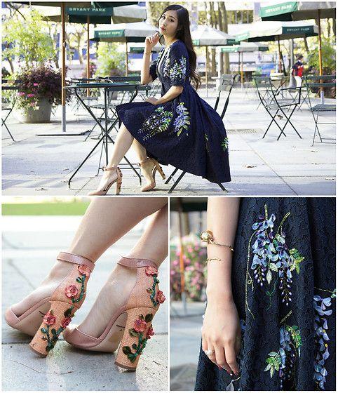 Тина ли - Дольче & Габбана цветочные каблуки - романтические цветочные в Брайант парке