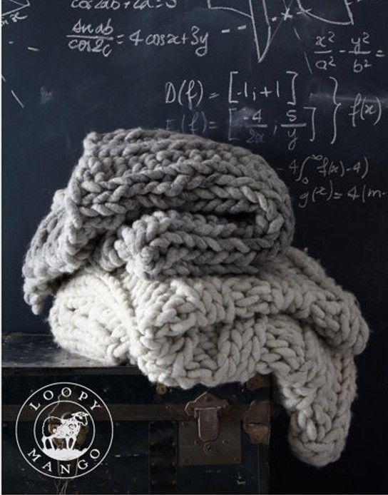 FREE Rib Knitted Throw Loopy Mango pattern on LoveKnitting.