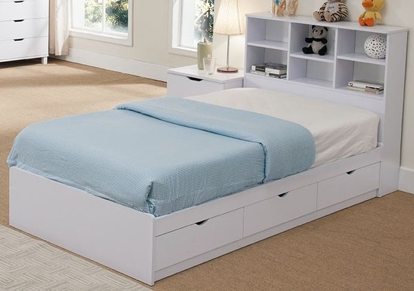 Rosangela White Wood Twin Bed W Bookcase Headboard Drawers By Id