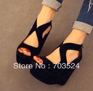black color women shoes sandals fashion comfortable platform shoes thin high heeled open toe wedges zip shoes female-inSandals from Shoes on Aliexpress.com $14.90