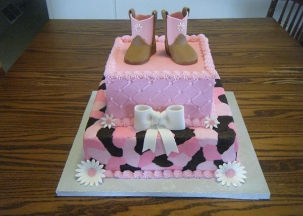 Too cute! Country baby shower cake..So gotta have this made in 5 yrs when we have a little boot wearing youngin' :)