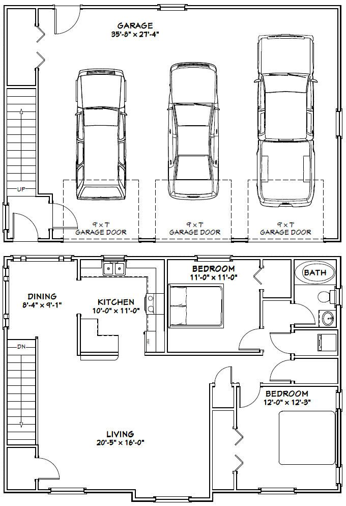 90 best apartments above garages images on pinterest for Double garage with room above plans