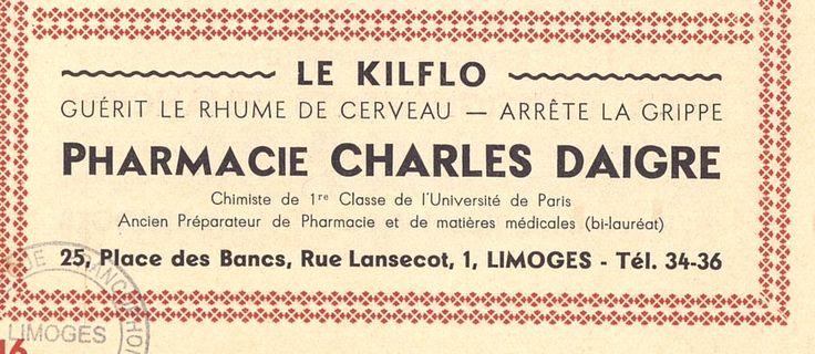 Le KILFLO guérit le Rhume de cerveau, programme Société des Concerts de Limoges, 1934 - Bfm Limoges.