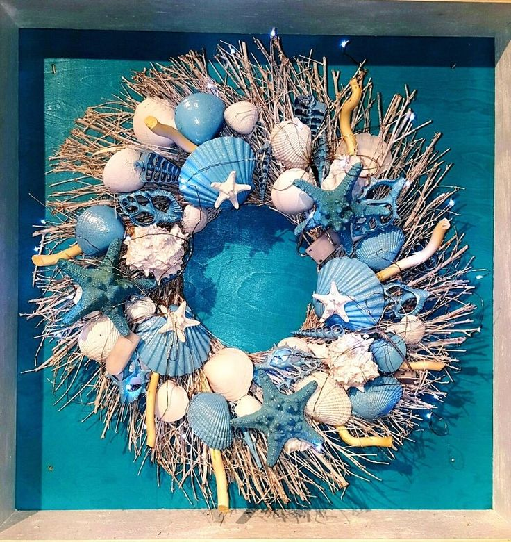 "21"" Sea Shell Wreath on Birch Twig w/Oasis Blue Star Fish-LMT.TIME FREE SHIPP #Handmade"