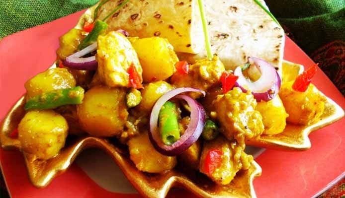 Surinaams eten – Roti Chicken Masala (Sandhia's roti met speciale kip masala)