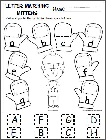 Free cut and paste letter matching activity for the winter. Cut out the uppercase letters and paste them on the mittens with the matching lowercase letters. This page is from my Winter Math And Lit…