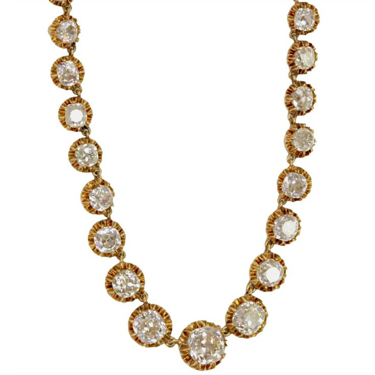 French Victorian Cushion Cut Diamond Necklace