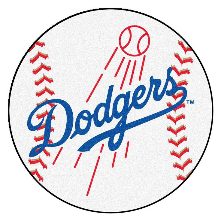 MLB Los Angeles Dodgers White 2 ft. 3 in. x 2 ft. 3 in. Round Accent Rug