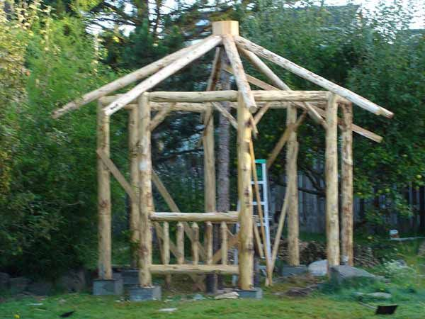 Gazebo designs the layout footings the log frame the for Rustic gazebo plans