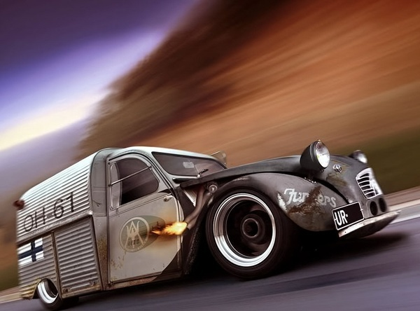 2cv Reminds me of 'Die Wildente' a German 2cv dragster with a V8 and 2000hp