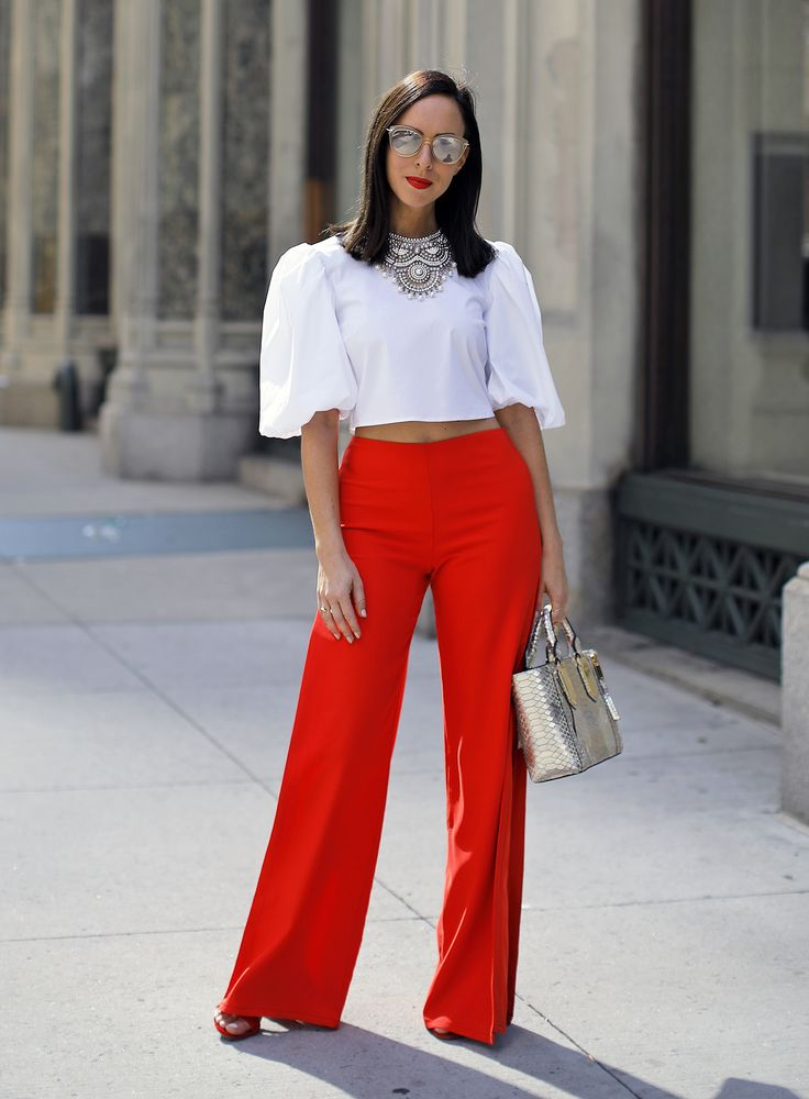 Sydne Style wears lovers and friends red pants from ...
