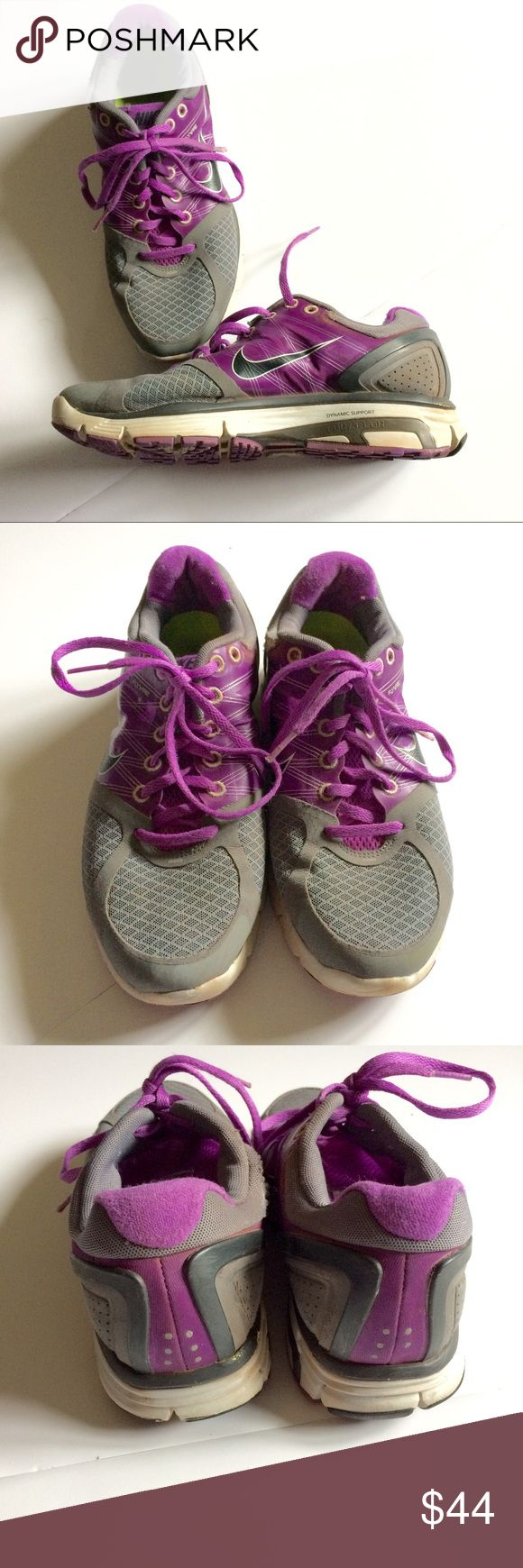 Nike Lunarglide 2 grey and purple running shoes Make an offer! No trades. Bundle and save! Nike Shoes Athletic Shoes