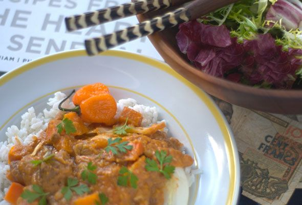 ... chicken and vegetables stewed in peanut sauce, although the