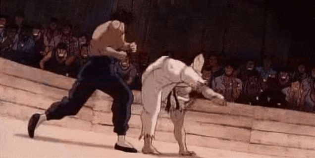 Ryu ending his match with Fei Long / Street Fighter II: TheAnimated Movie, In Gifs