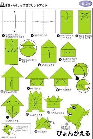 折纸小青蛙~,Origami Crafts for Kids, Free Printable Origami