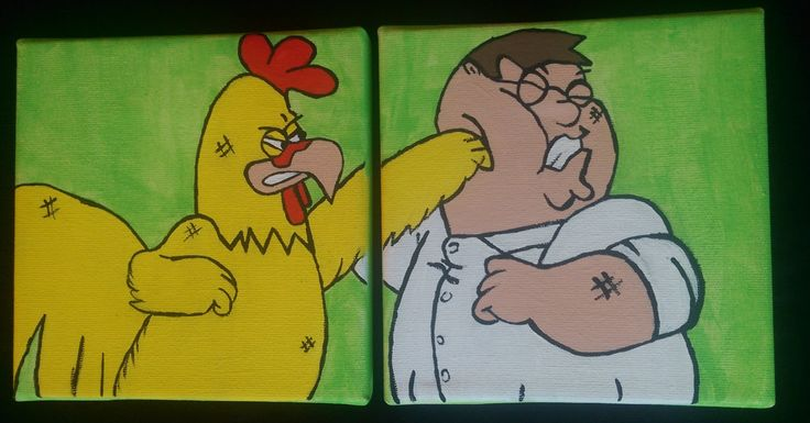 Family Guy: Peter Griffin vs. Chicken Fight Canvas Painting by petesboutique on Etsy