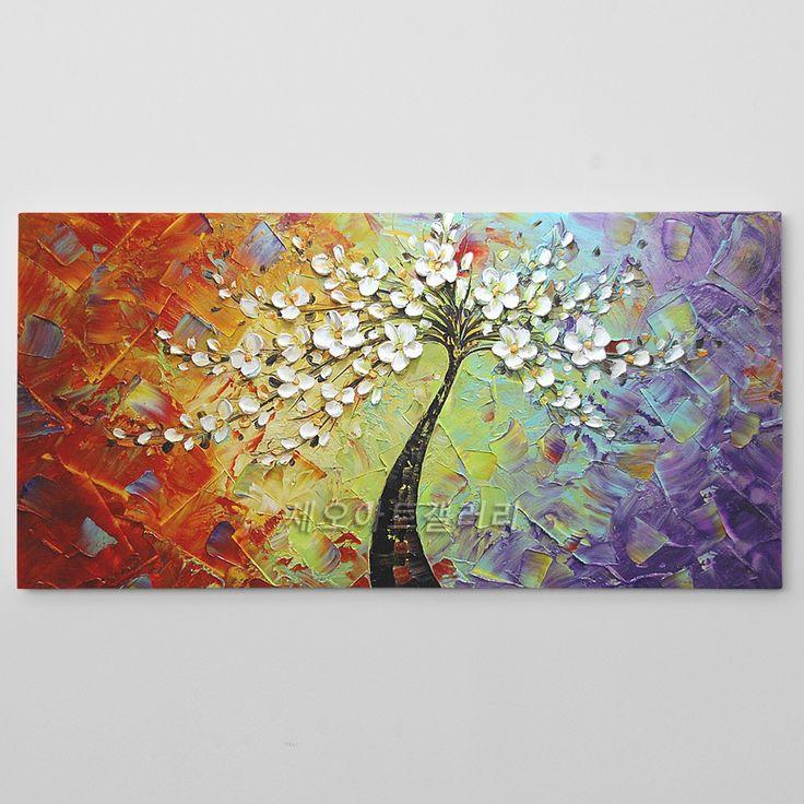 나무 그림 유화 액자